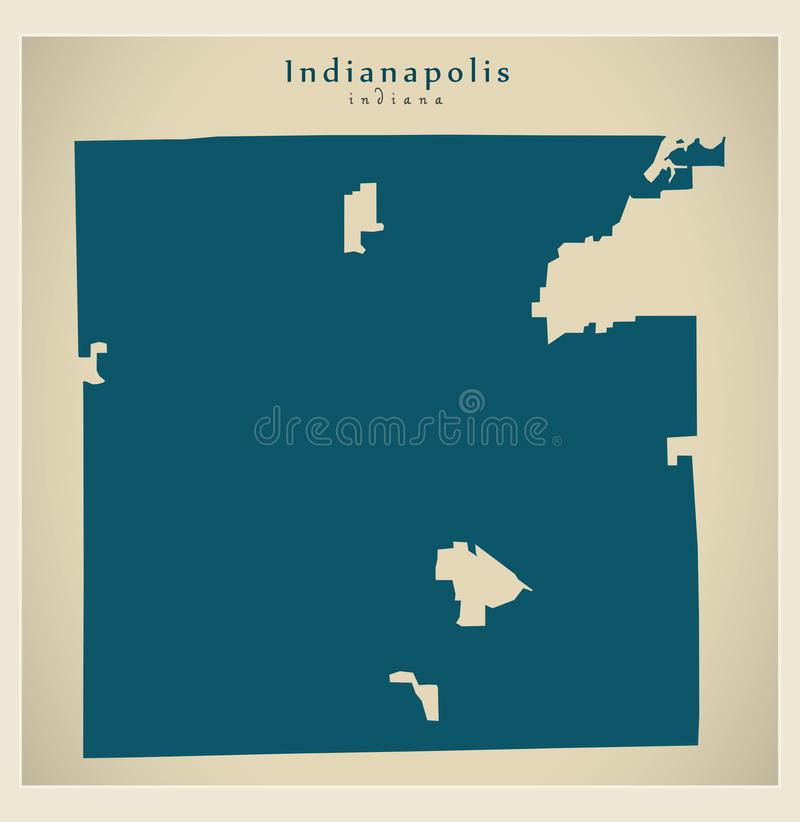 Modern Map - Indianapolis Indiana city of the USA royalty free illustration