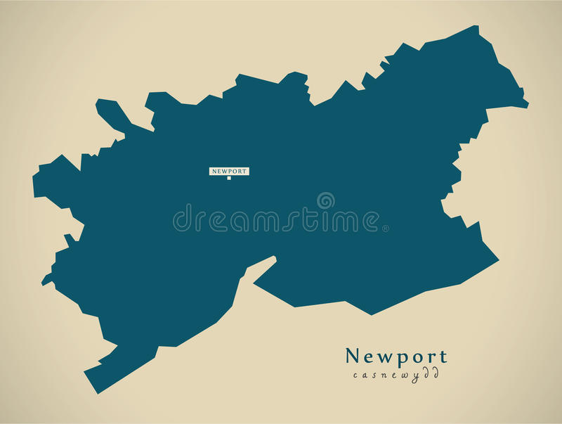Modern Map Newport Wales UK Stock Illustration Illustration of