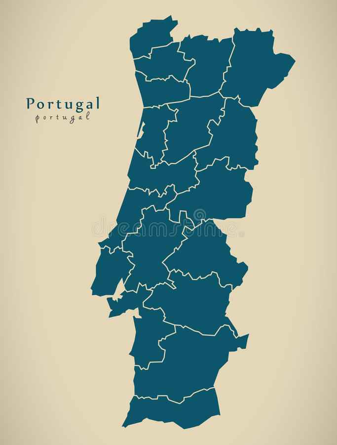 Modern Map - Portugal with districts PT. Illustration royalty free illustration