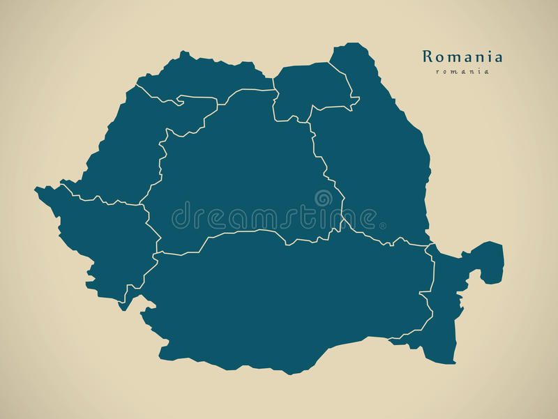 Modern Map - Romania with regions RO. Illustration royalty free illustration