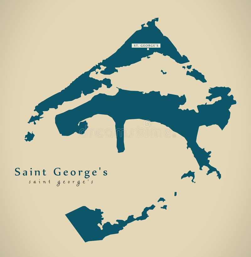 Modern Map Saint Georges BM Stock Illustration Illustration of