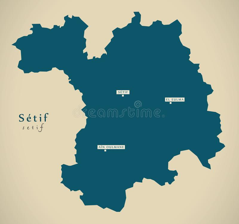 Modern Map Setif DZ stock illustration Illustration of country