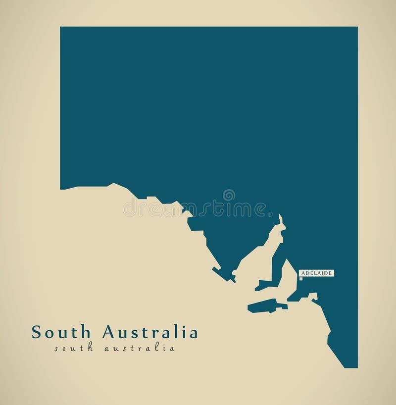 Modern Map - South Australia AU stock illustration