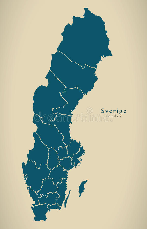 Modern Map Sweden With Regions SE Stock Illustration