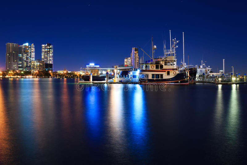 Marina at night in Southport, Gold Coast, QLD, Australia. Modern marina at night in Southport, Gold Coast, QLD, Australia stock images