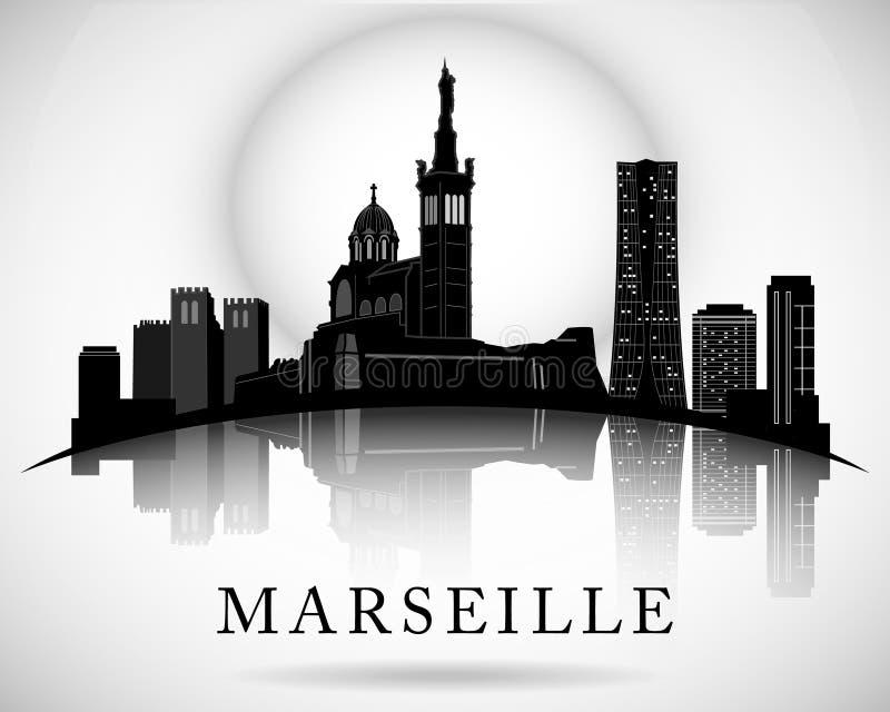 Modern Marseille City Skyline Design stock illustration