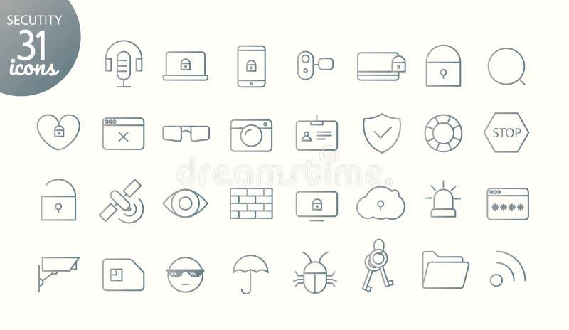 Modern massmediarengöringsduk och tunn linje symbolssamling för mobilapp Outl vektor illustrationer