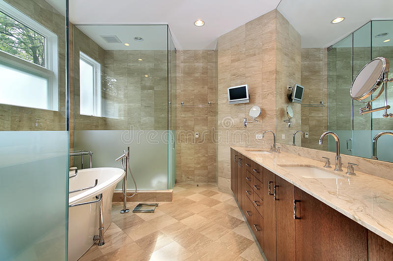 Download Modern Master Bath With Glass Shower Stock Photo - Image: 12662702
