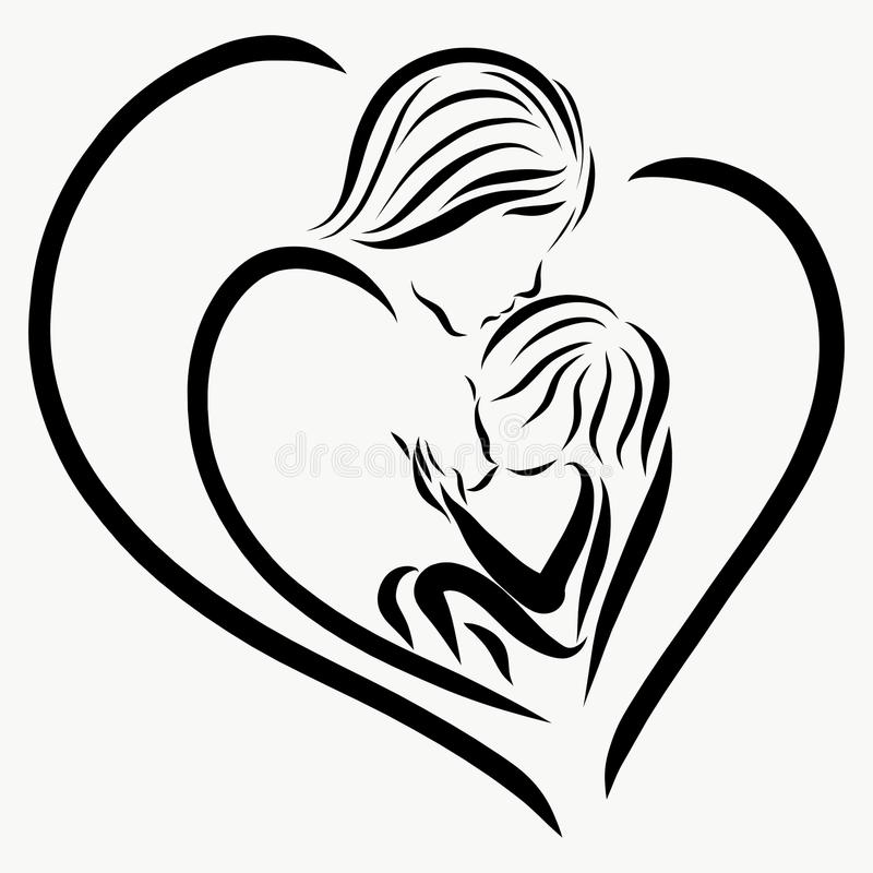 Modern matar behandla som ett barn och kysser den, hjärtan vektor illustrationer