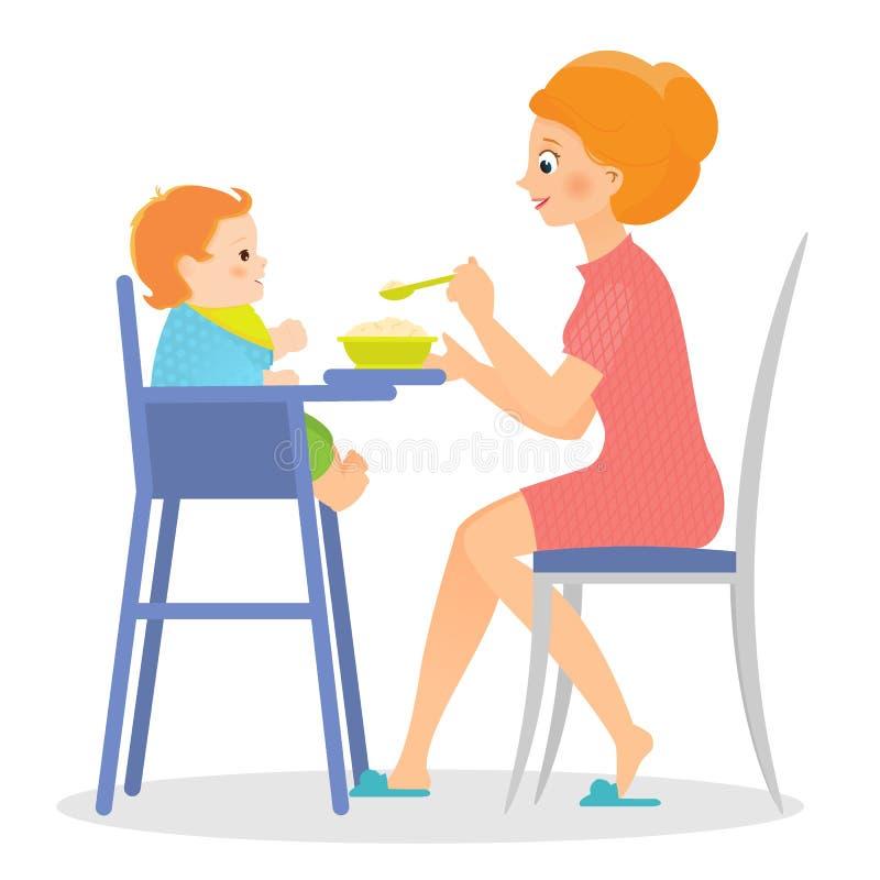 Modern matar henne behandla som ett barn i hög stol vektor illustrationer