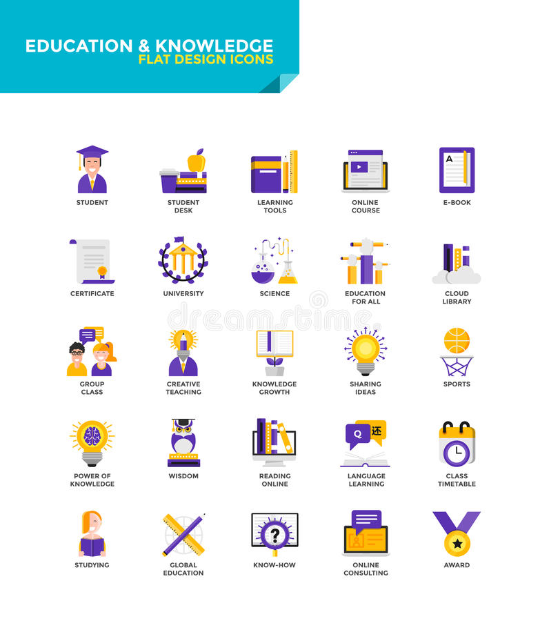 Modern material Flat design icons - Education and Knowledge vector illustration