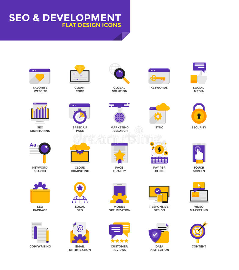 Modern material Flat design icons - Seo and Development vector illustration