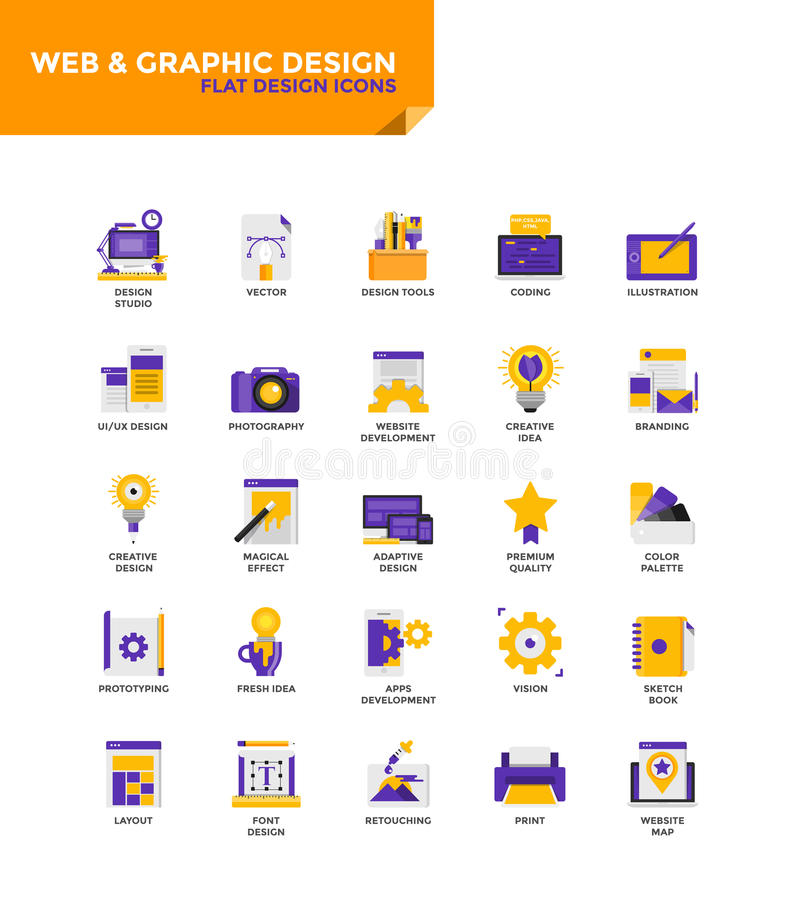 Modern material Flat design icons - Web and Graphic Design royalty free illustration