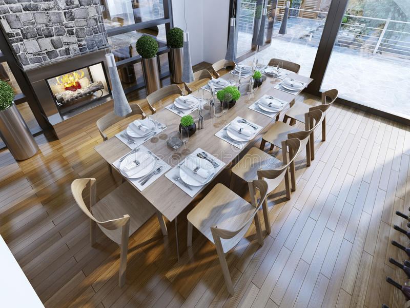Modern matsal i lyxigt hus royaltyfri bild