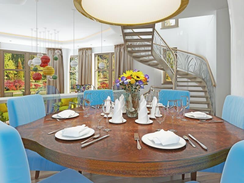 Modern matsal med kök i en moderiktig stilhötorgskonst royaltyfri foto