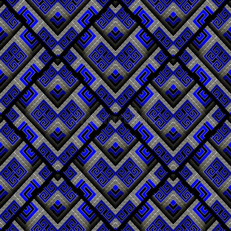 Modern meander naadloos patroon Abstracte zwarte blauwe gestreepte gre royalty-vrije illustratie