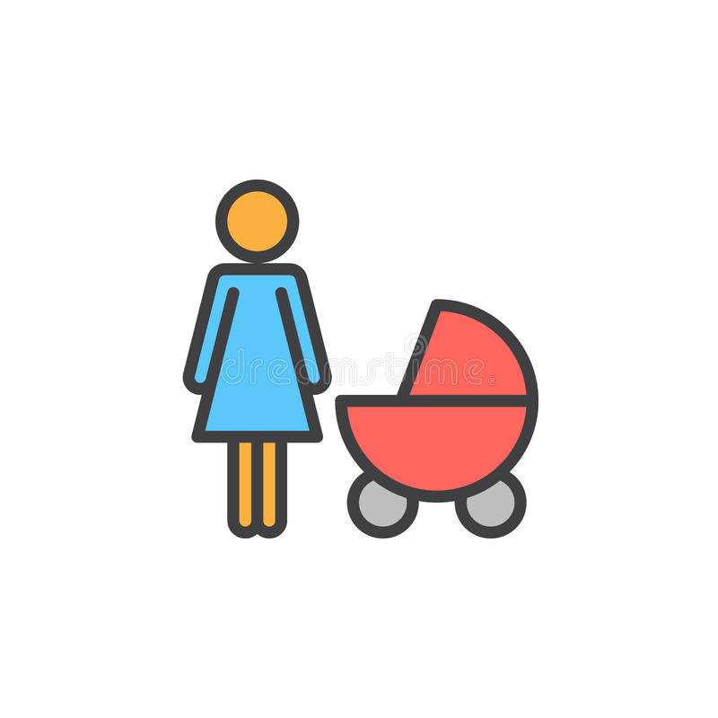 Modern med behandla som ett barn pramen fyllda översiktssymbolen, linjen vektortecknet, linjär färgrik pictogram royaltyfri illustrationer