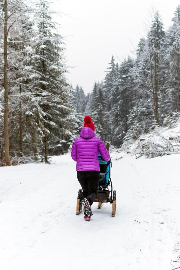 Modern med behandla som ett barn sittvagnen som tycker om moderskap i vinterskog fotografering för bildbyråer