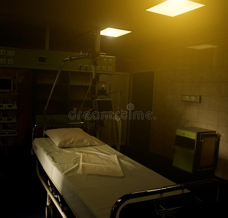 Modern medical bed and a special device in the modern ward of re royalty free stock photo