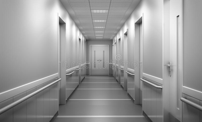 Modern medical clinic bright blurred background corridor spacious modern medical facility hospital new 3d render stock photos