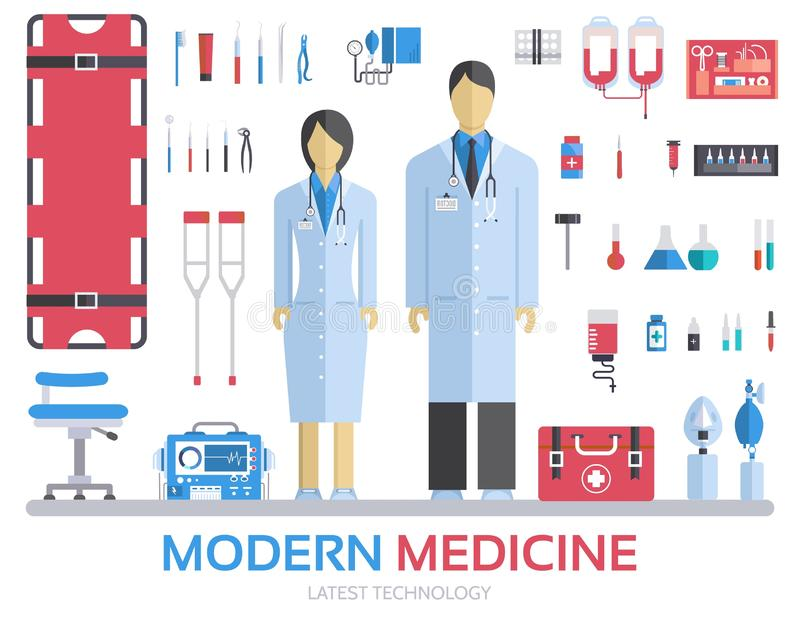 Modern medical equipment in flat design background concept. Infographic elements set with doctor and nurse around medicine tools. stock illustration