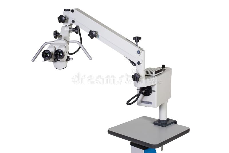 Modern medical equipment - ophthalmology operation surgical microscope isolated royalty free stock photo
