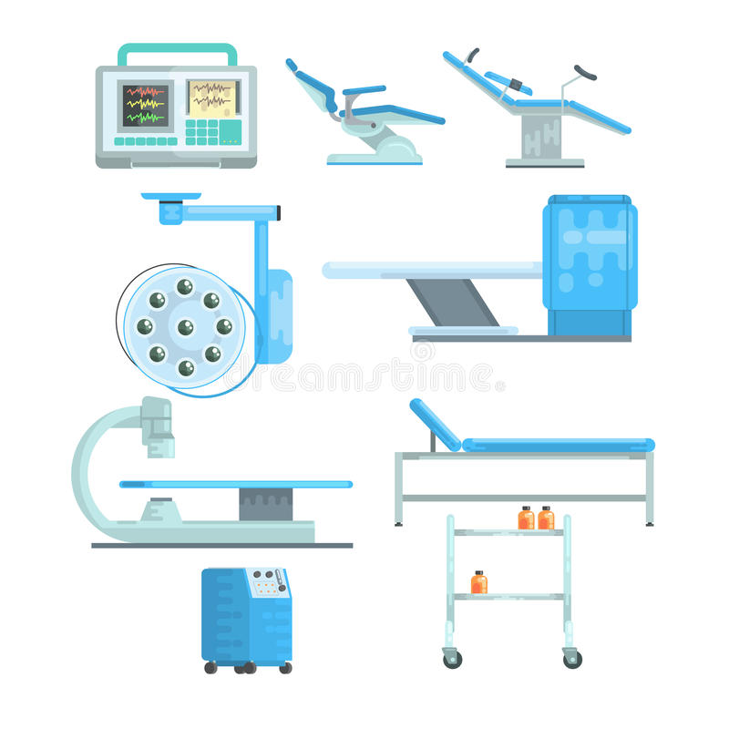 Modern medical and examination equipment set of vector Illustrations. Isolated on a white background stock illustration