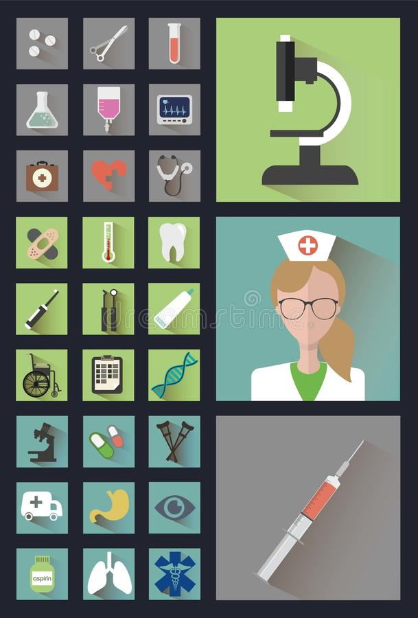 Modern medical icons in the style Flat stock photos