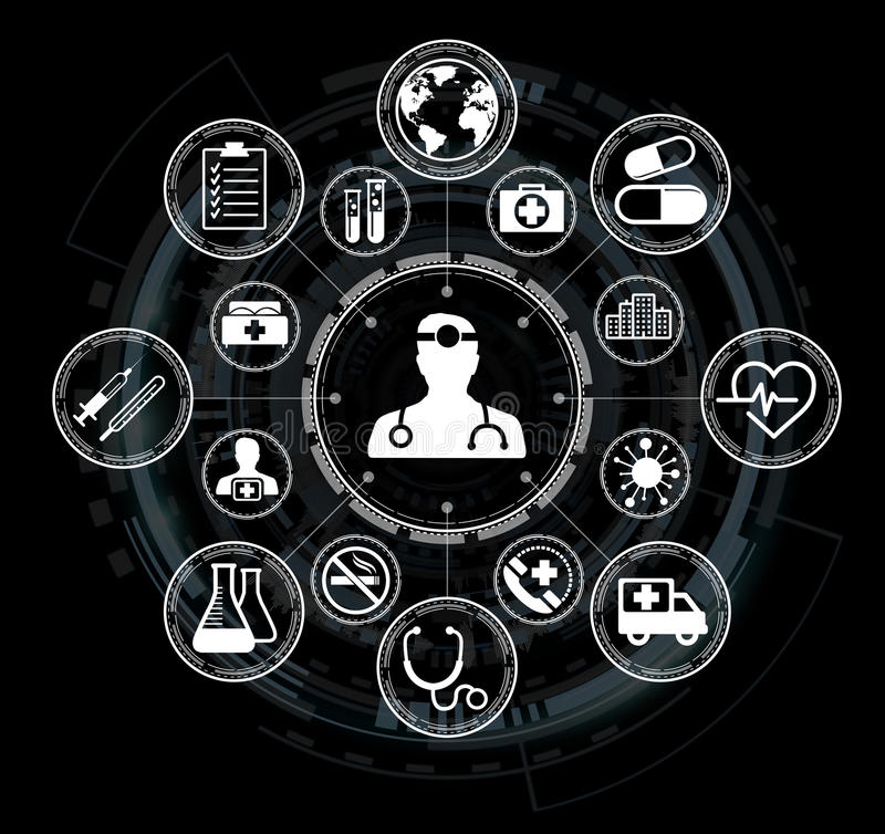 Modern medical interface with icons 3D rendering. Modern medical interface with icons on black background 3D rendering royalty free illustration