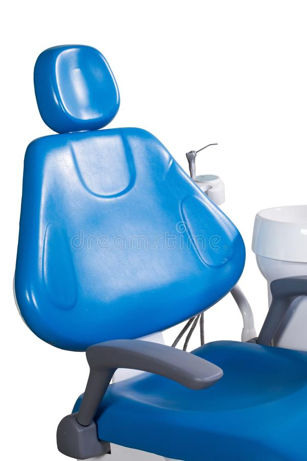 Modern blue dentist chair isolated on white background royalty free stock photography