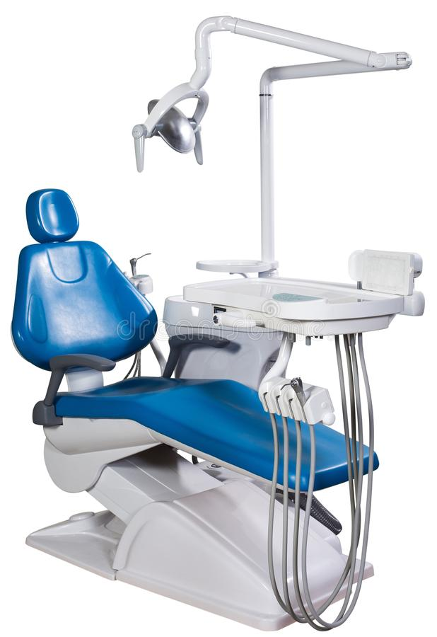 Modern blue dentist chair isolated on white background stock images