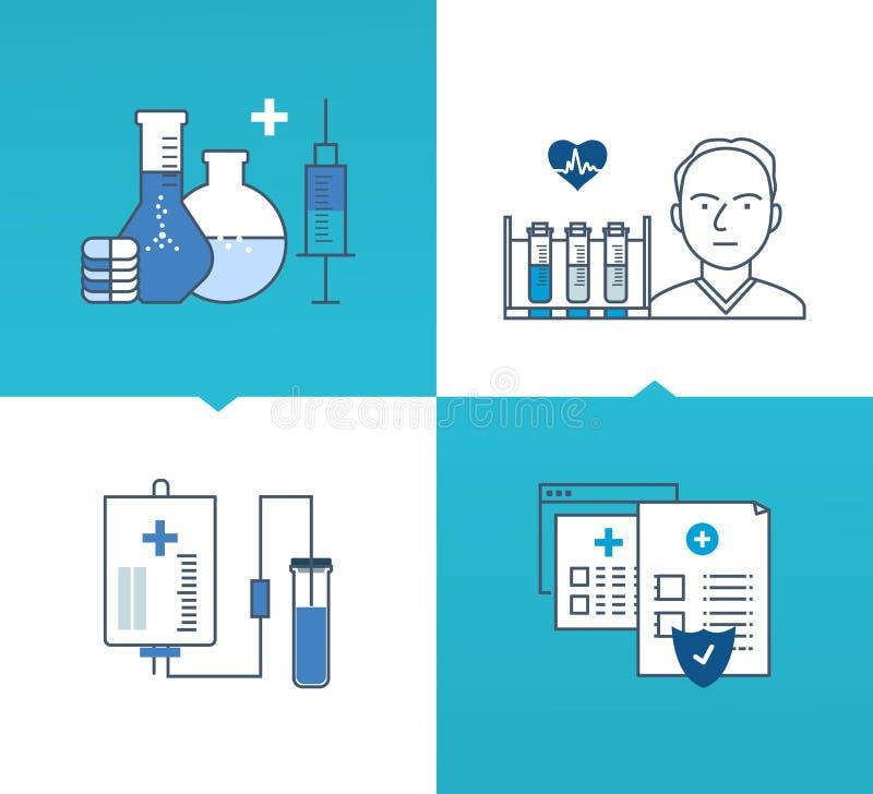 Modern medicin och teknologi, metoder av behandling, skydd, säkerhet royaltyfri illustrationer