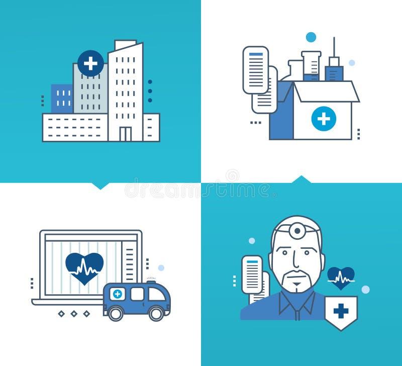 Modern medicin, teknologi, hjälpmedel, metoder av behandling, mediciner stock illustrationer