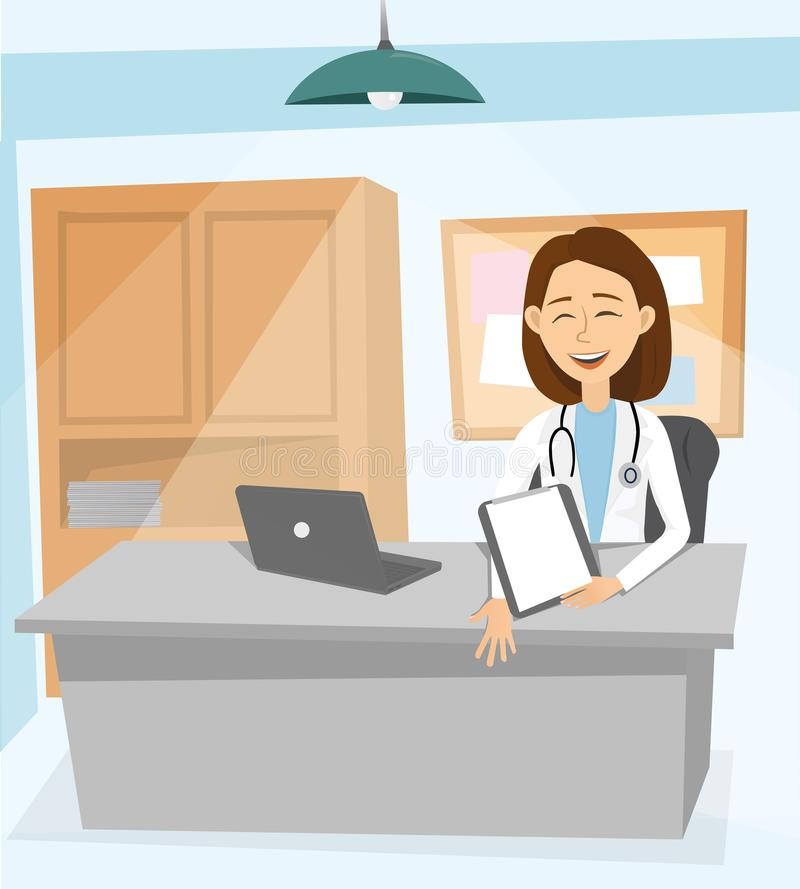 Modern medicine and healthcare system. Medical worker therapist at his desk. Doctor works at his computer in office of stock illustration