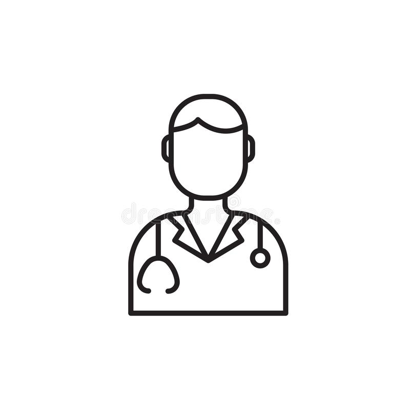 Modern medisch lijnpictogram van arts Tandarts lineair symbool Het embleem van de overzichtskliniek voor poliklinieken Het elemen stock illustratie