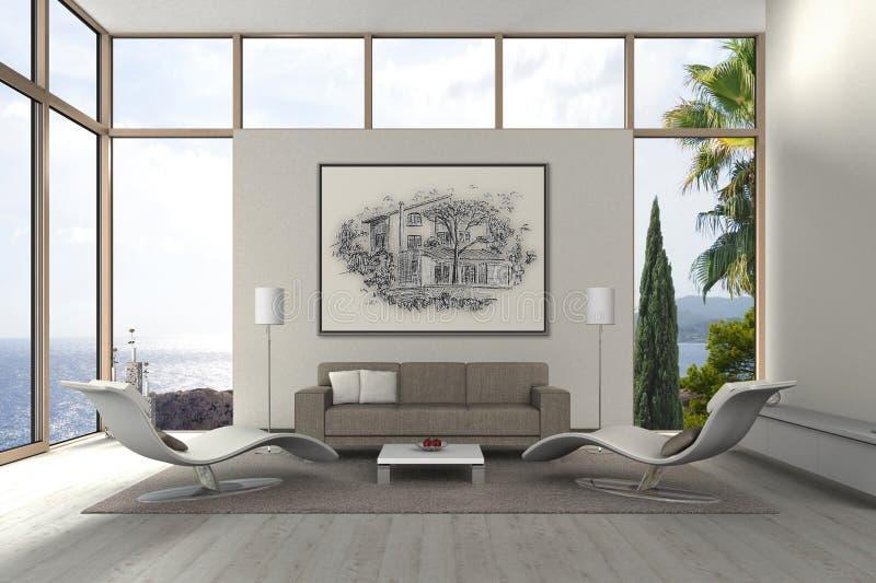 Modern mediterranean seaside living room stock photography