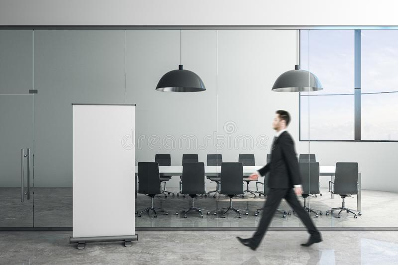 Modern meeting room with poster royalty free stock image
