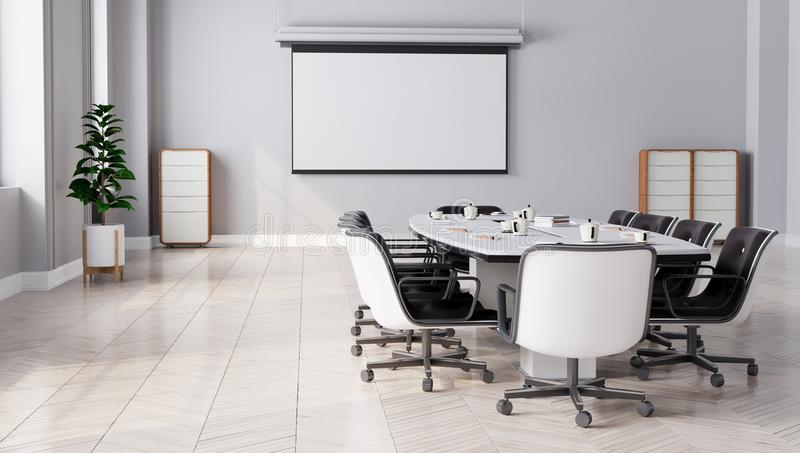 Modern Meeting Room with projector screen royalty free illustration