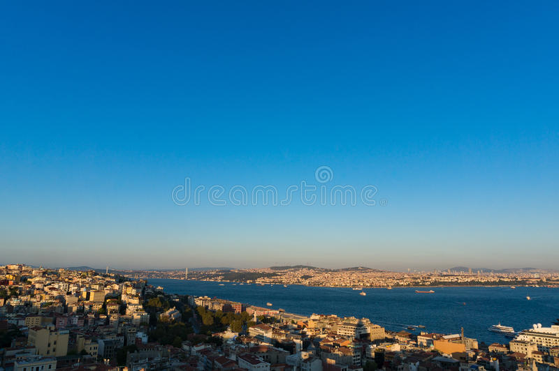 Modern megalopolis cityscape at dusk. Aerial view of Istanbul, Turkey. Modern megalopolis cityscape at dusk royalty free stock image