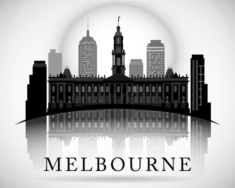 Modern Melbourne City Skyline Design. Australia. Modern Melbourne City Skyline Design stock illustration