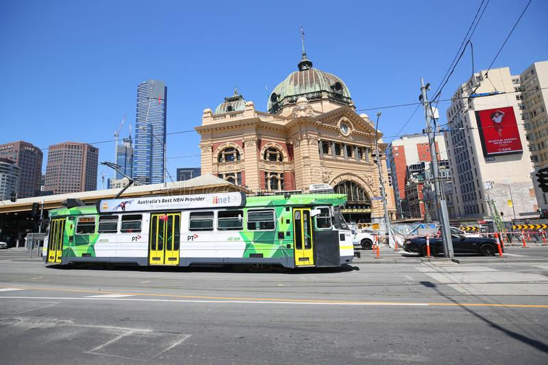 Modern Melbourne Tram the famous iconic transportation in the town. MELBOURNE, AUSTRALIA - JANUARY 24, 2019: Modern Melbourne Tram the famous iconic stock image