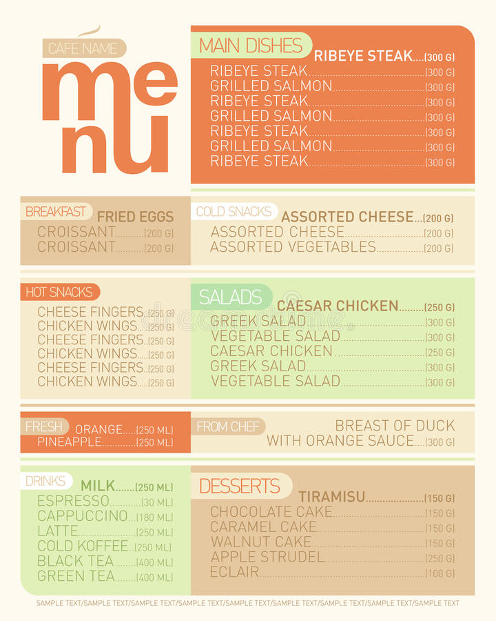 Modern Menu List Dishes Stock Vector Illustration Of Menu