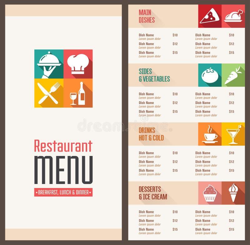 Modern menumalplaatje vector illustratie