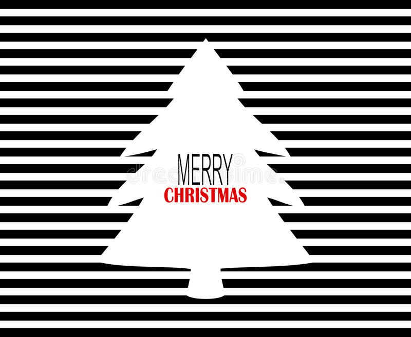 Modern Merry Christmas design with black pinstripes and white Christmas tree vector illustration