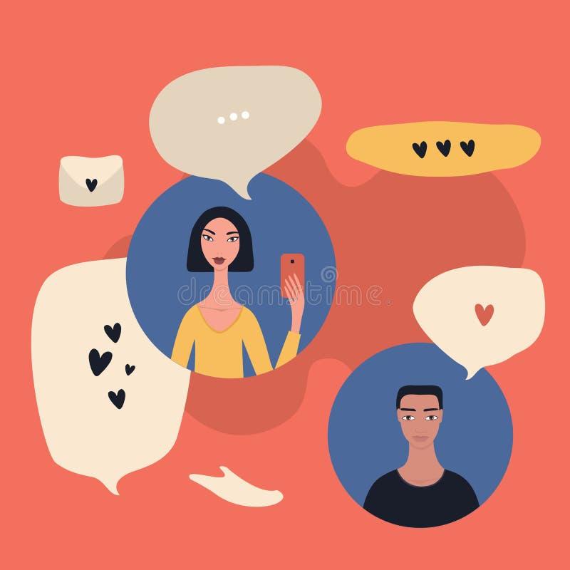 Modern messaging för folk för begrepp för kommunikationsteknologi genom att använda mobiltelefoner stock illustrationer