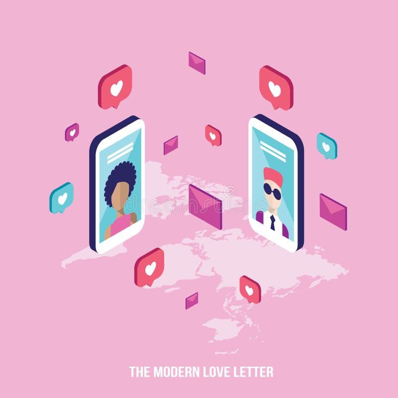 Modern messaging för folk för förälskelsebokstav på St-valentindag stock illustrationer