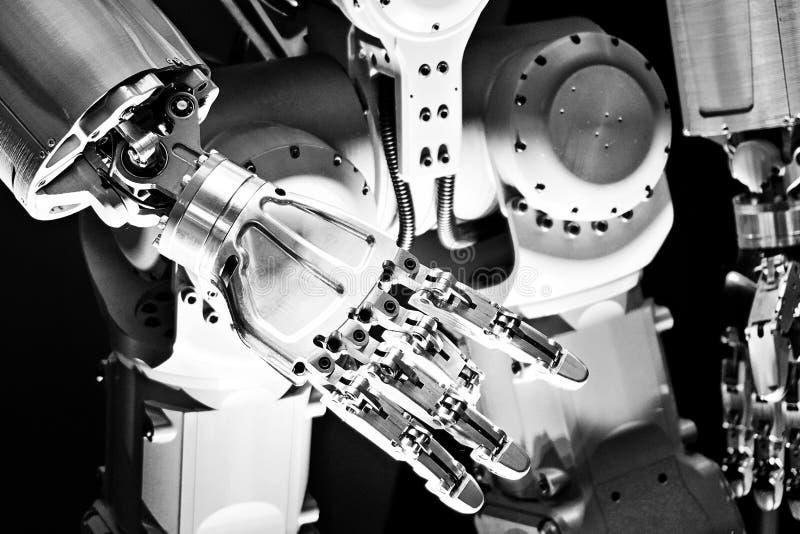 Metal robot arm royalty free stock photos