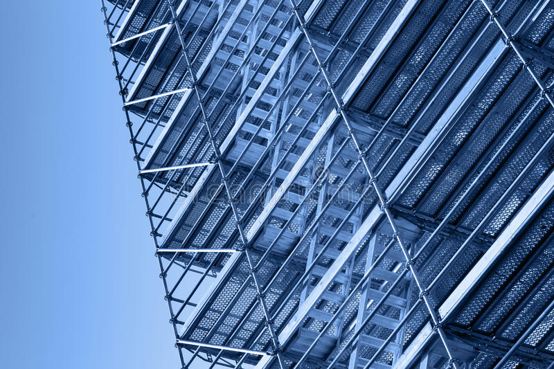 Modern metal scaffolding, toned photo royalty free stock photography
