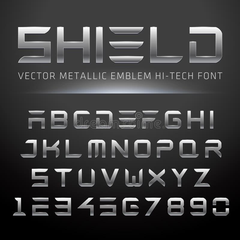 Modern Metallic Hi-Tech Font vector illustration