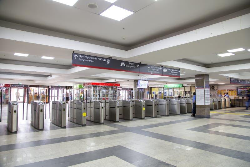 Modern metallic turnstile gate, entrance of railway station Paveletsky railway terminal. Moscow, Russia stock image